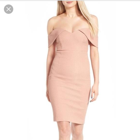 774d0942a2a3 Bardot Dresses & Skirts - Bardot EVA Snake Dress Blush Pink Off Shoulder